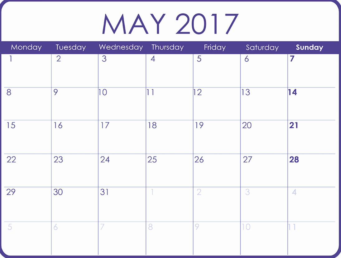 2017 Quarterly Calendar Template Excel Fresh May 2017 Printable Calendar Template Holidays Excel