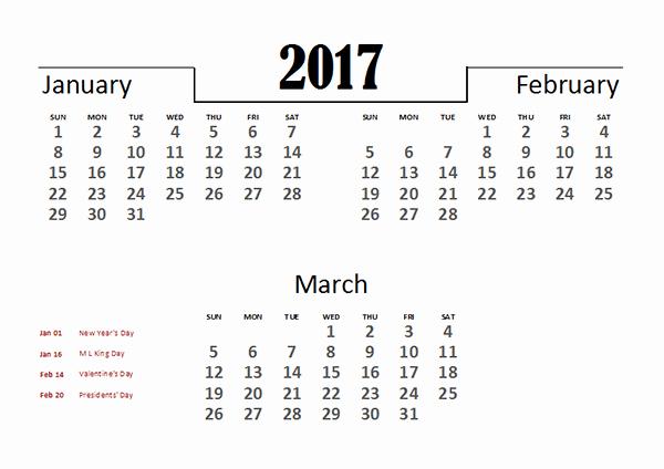 2017 Quarterly Calendar Template Excel Inspirational 2017 Excel Quarterly Calendar Template Free Printable