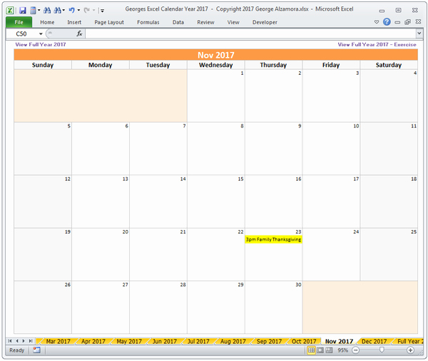2017 Quarterly Calendar Template Excel Inspirational Excel Calendar Year 2017 Spreadsheet – Buyexceltemplates