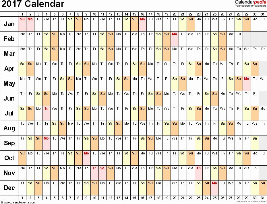 2017 Quarterly Calendar Template Excel Luxury 2017 Calendar Download 17 Free Printable Excel Templates