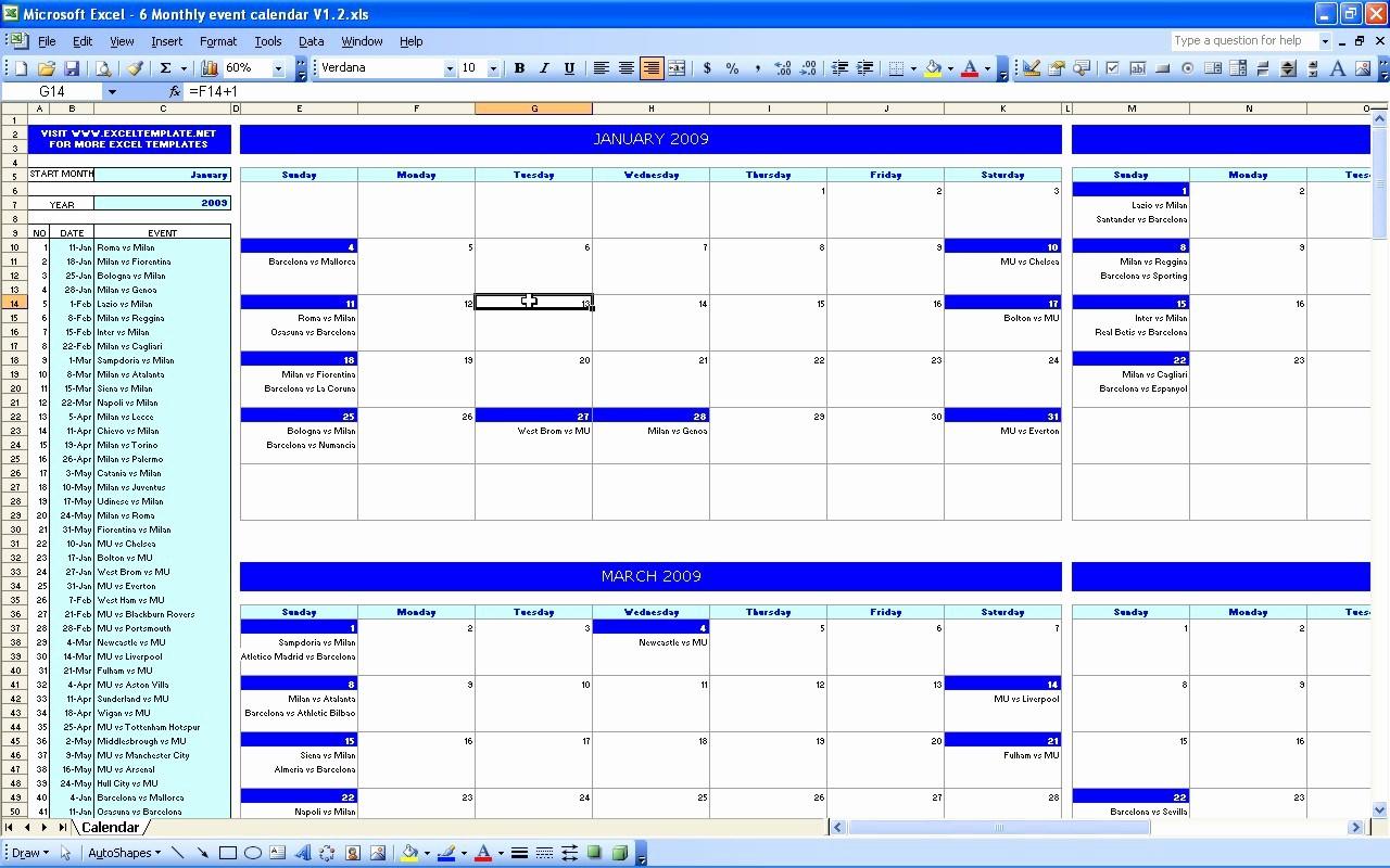 2017 Quarterly Calendar Template Excel Luxury event Calendar Excel Template