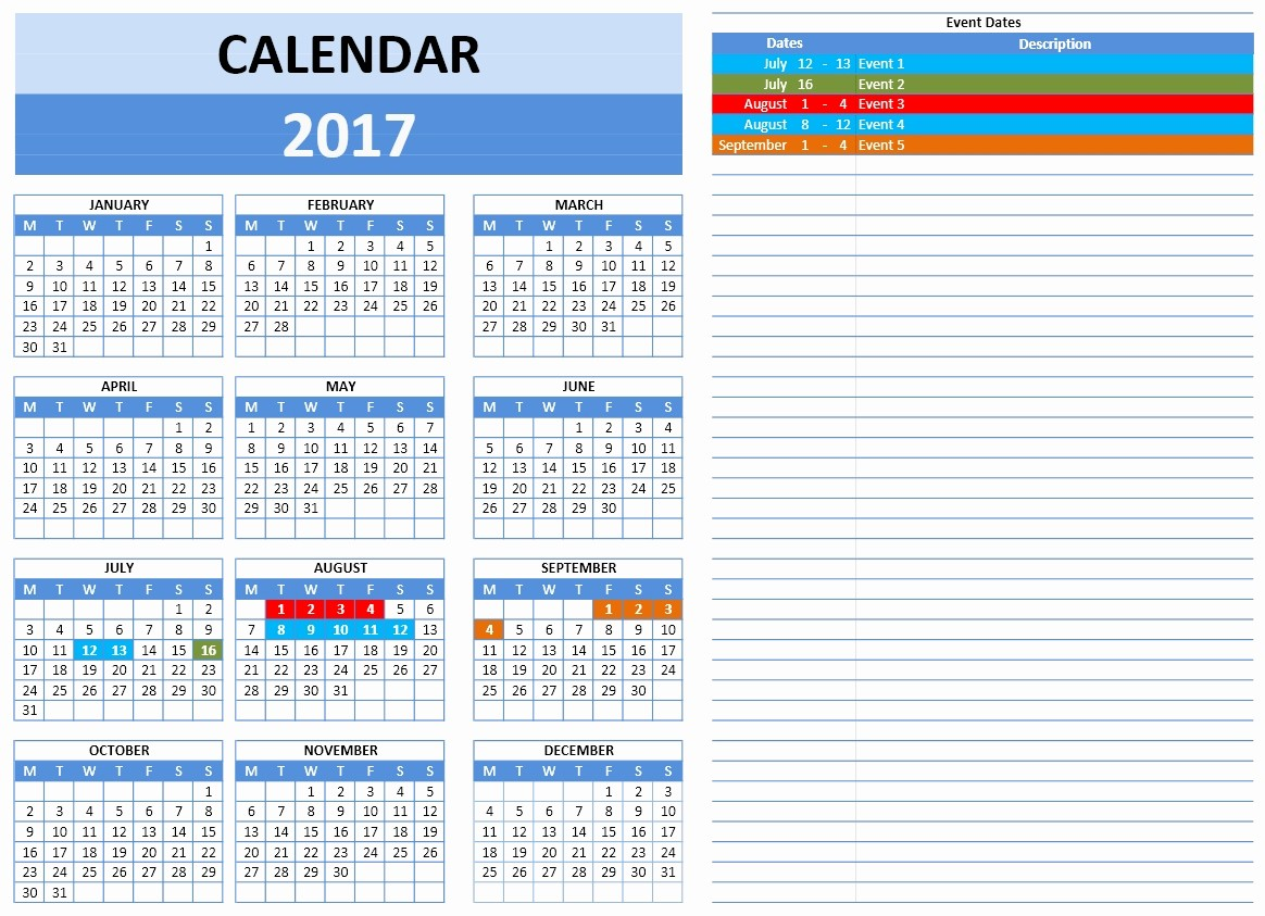 2017 Quarterly Calendar Template Excel New Free 2017 Year and Monthly Calendar Template