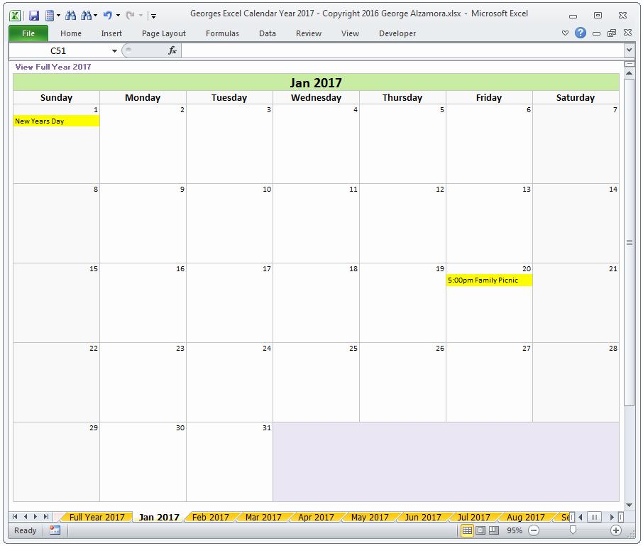 2017 Quarterly Calendar Template Excel New Year 2017 Excel Calendar Template Monthly Calendar