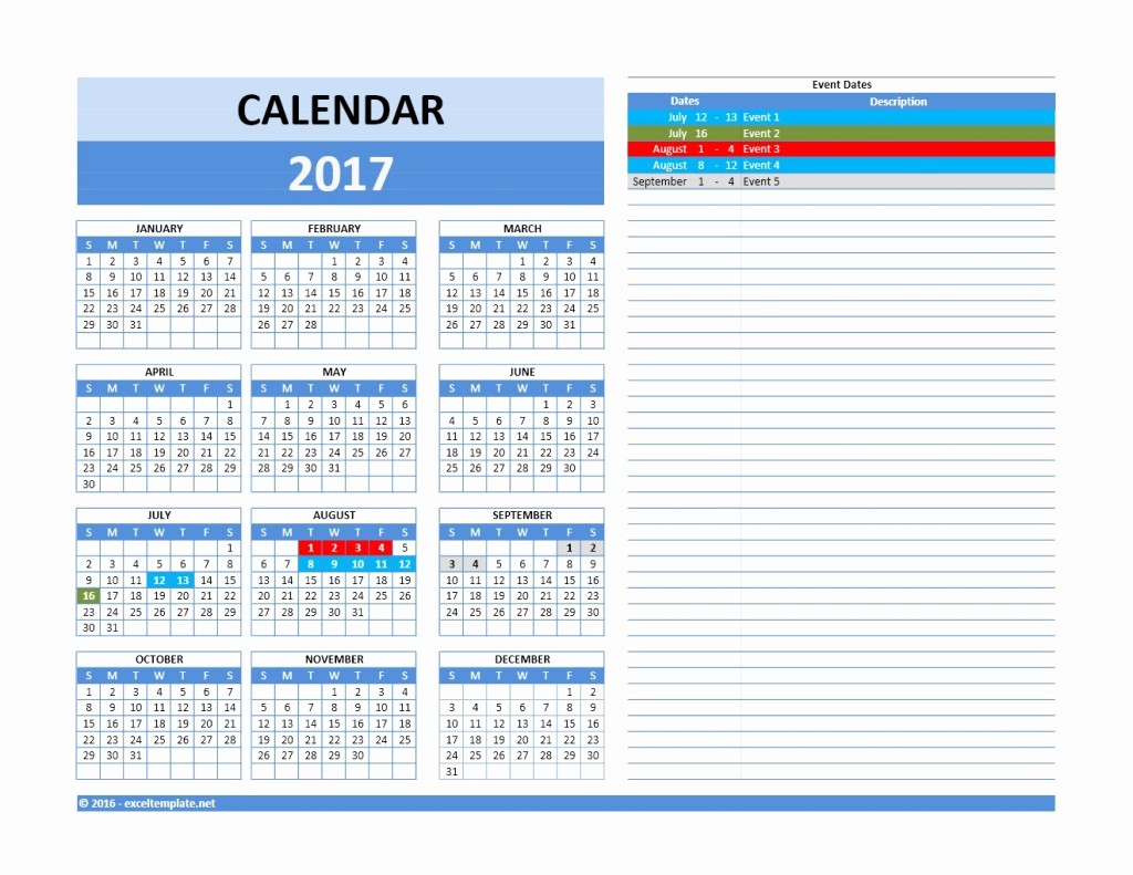 2017 Quarterly Calendar Template Excel Unique 2017 and 2018 Calendars