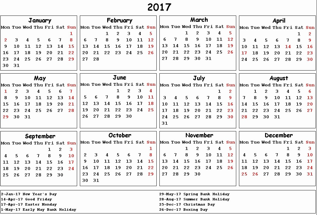 2017 Weekly Calendar with Holidays Awesome 2017 Calendar Uk