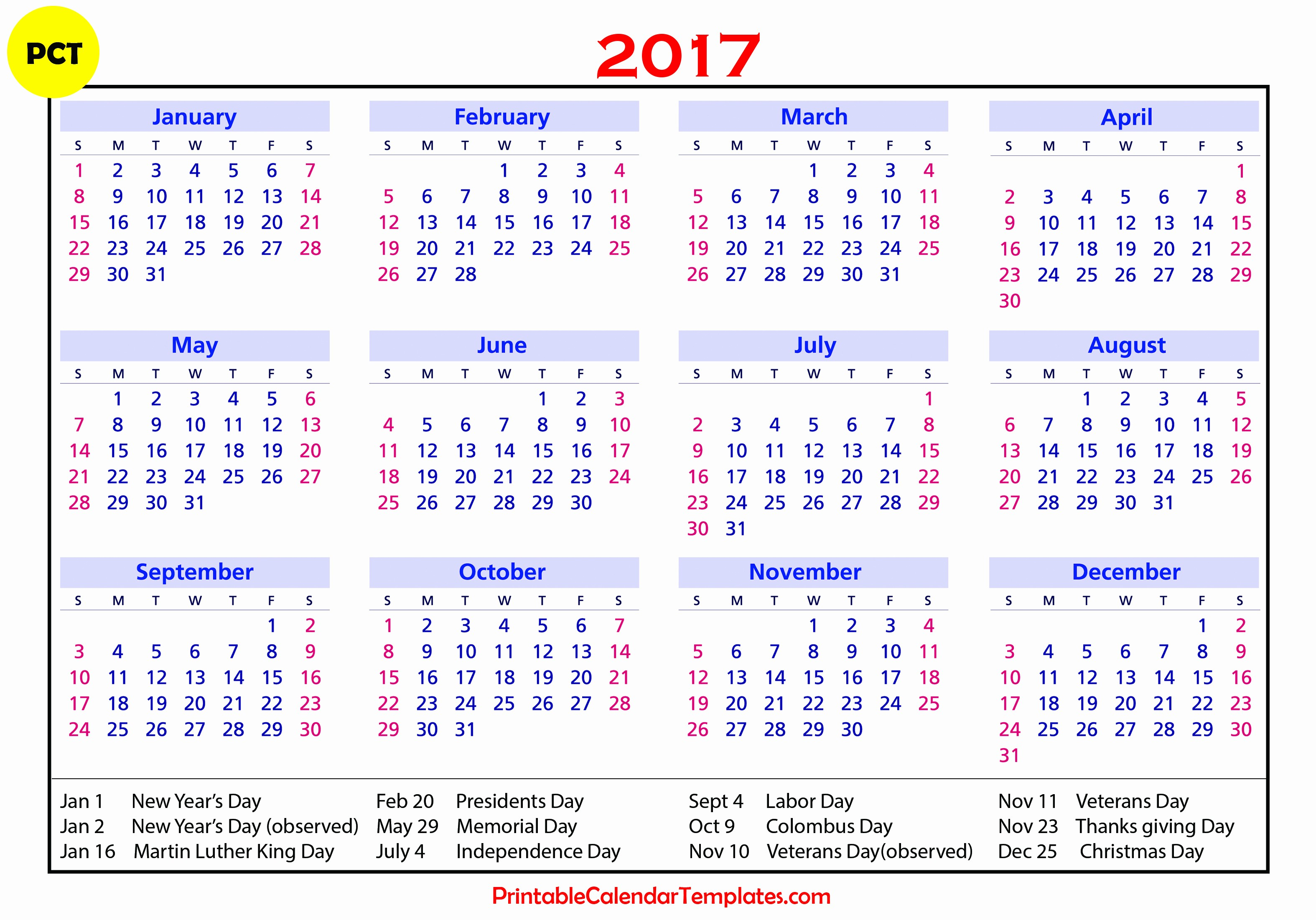 2017 Weekly Calendar with Holidays Awesome 2017 Calendar with Holidays