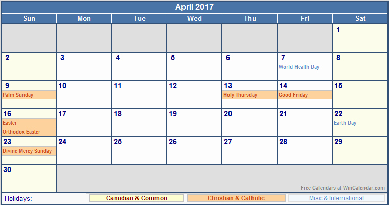 2017 Weekly Calendar with Holidays Awesome April 2017 Calendar with Holidays