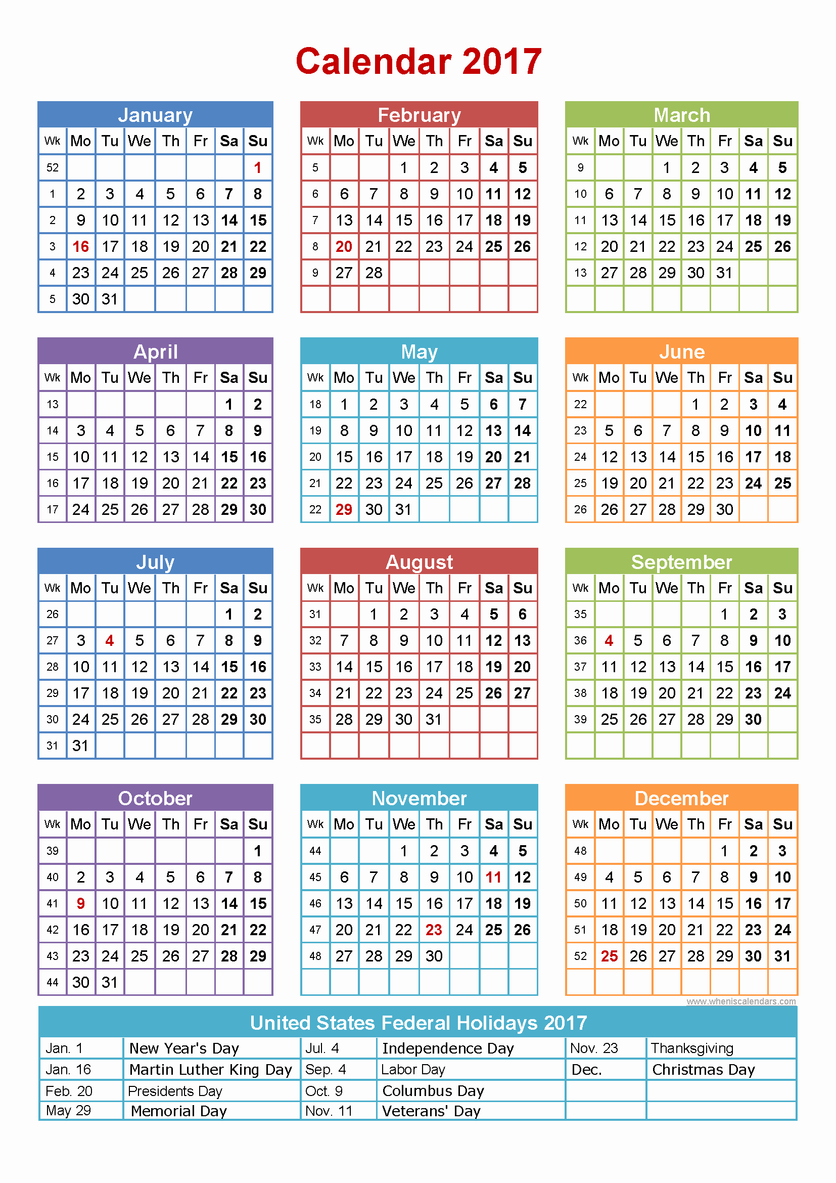 2017 Weekly Calendar with Holidays Beautiful Free 2017 Calendar with Holidays