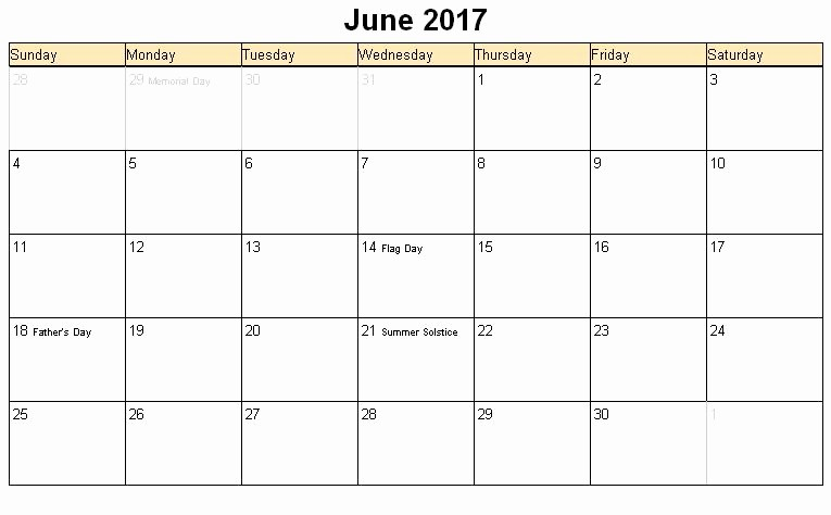 2017 Weekly Calendar with Holidays Beautiful June 2017 Calendar Printable with Holidays