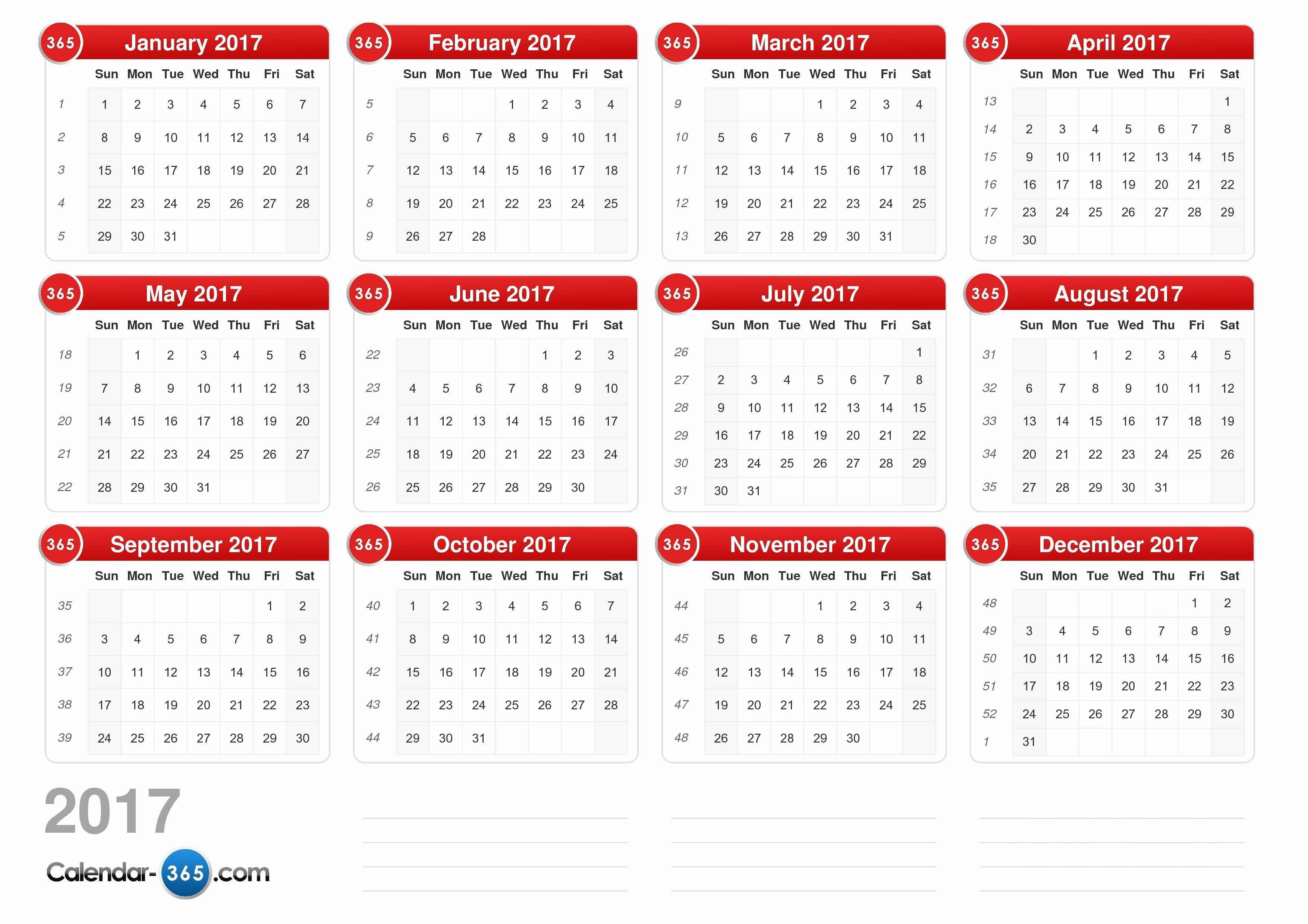 2017 Weekly Calendar with Holidays Elegant 2017 Calendar