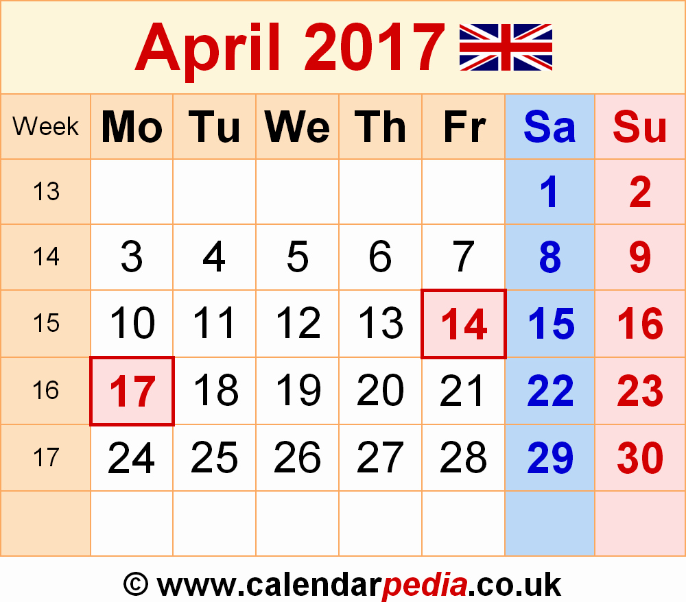 2017 Weekly Calendar with Holidays Elegant April 2017 Calendar with Holidays Uk