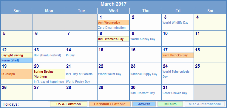 march 2017 calendar with holidays 1322