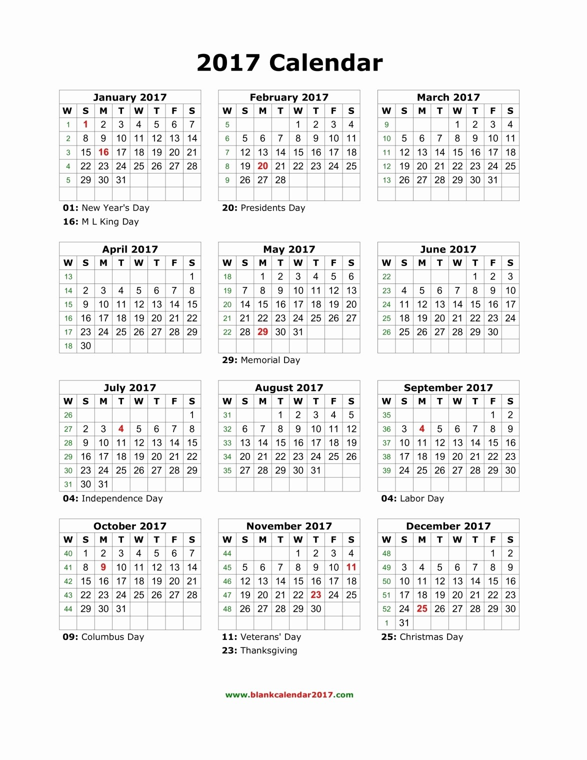 2017 Weekly Calendar with Holidays Fresh Blank Calendar 2017