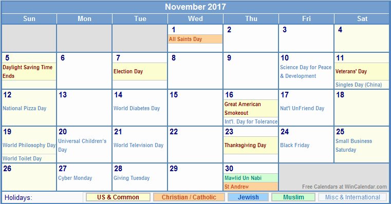 2017 Weekly Calendar with Holidays Fresh November 2017 Calendar with Holidays