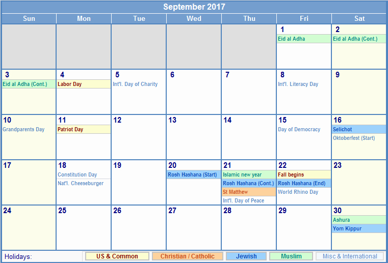 2017 Weekly Calendar with Holidays Fresh September 2017 Calendar with Holidays Uk