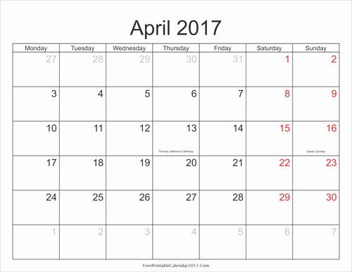 2017 Weekly Calendar with Holidays Inspirational April 2017 Calendar Printable with Holidays
