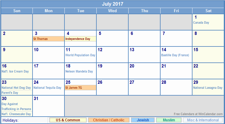 2017 Weekly Calendar with Holidays Inspirational July 2017 Calendar with Holidays