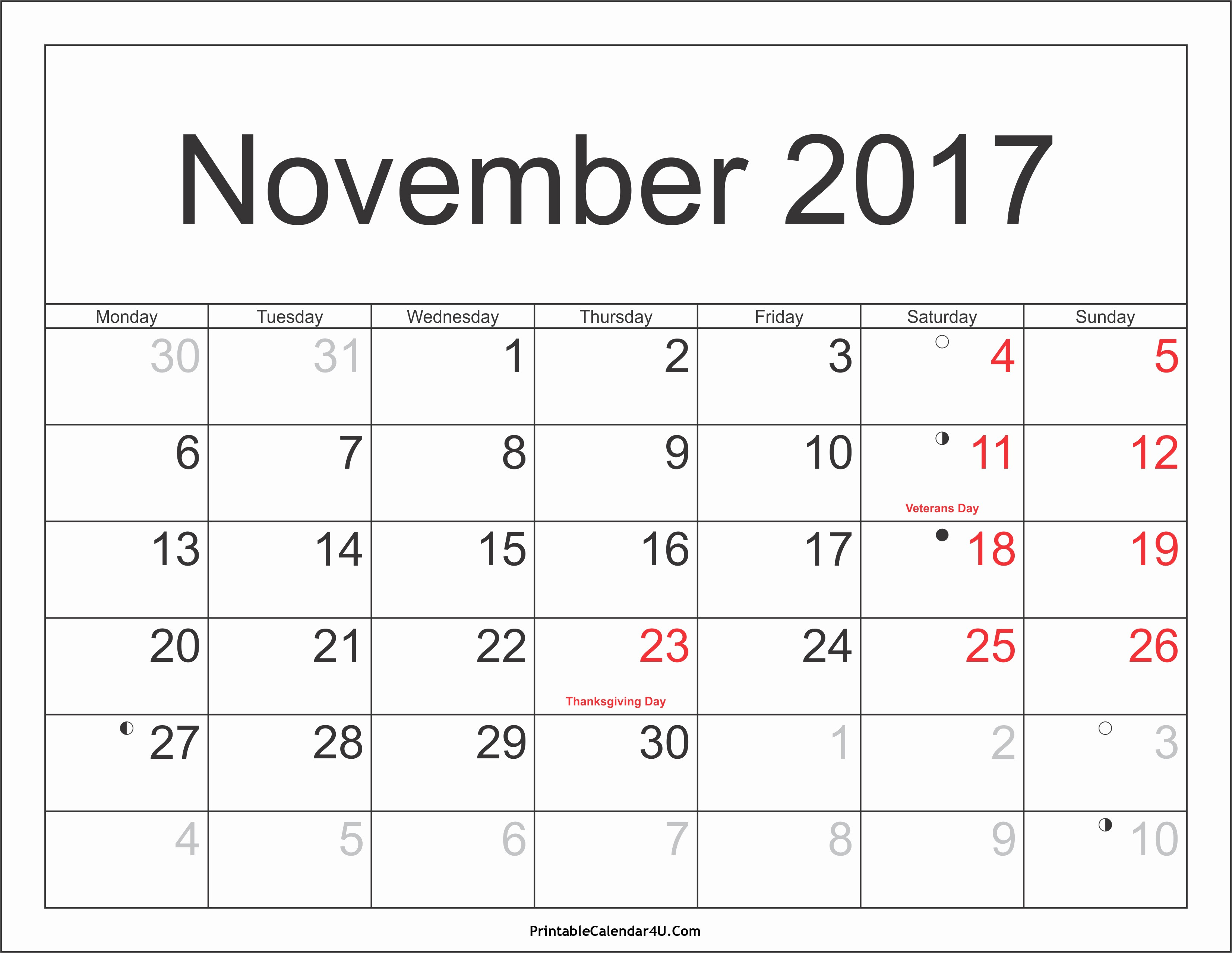 2017 Weekly Calendar with Holidays Inspirational November 2017 Calendar with Holidays
