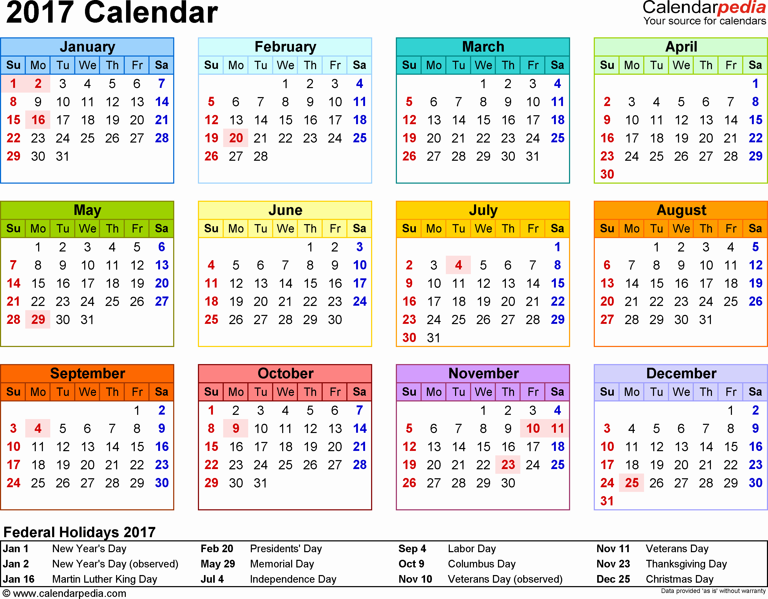 2017 Weekly Calendar with Holidays Inspirational Template 8 2017 Calendar for Word Year at A Glance 1