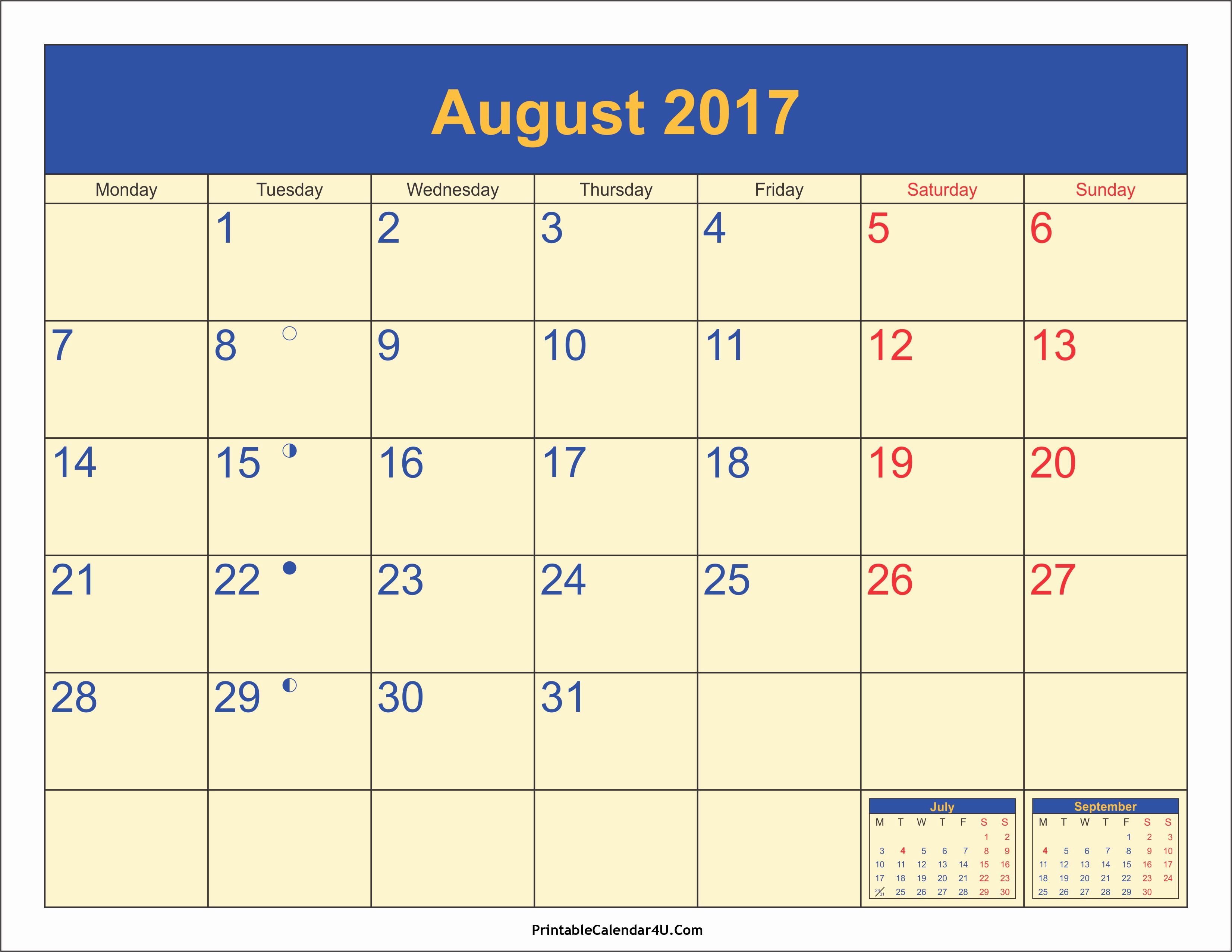 2017 Weekly Calendar with Holidays Lovely August 2017 Calendar Ca