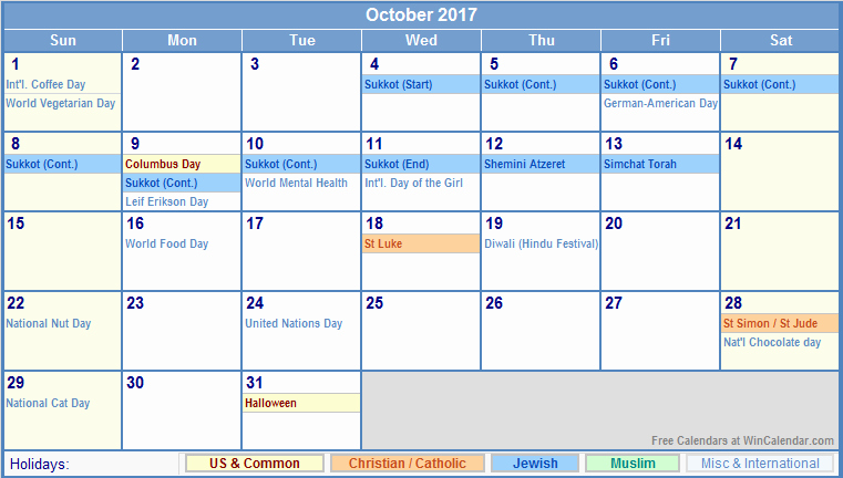 2017 Weekly Calendar with Holidays Lovely October 2017 Calendar with Holidays Uk