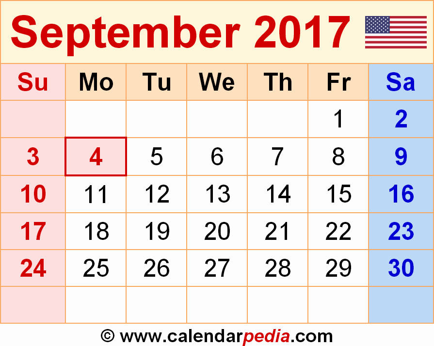 2017 Weekly Calendar with Holidays Lovely September 2017 Calendar with Holidays
