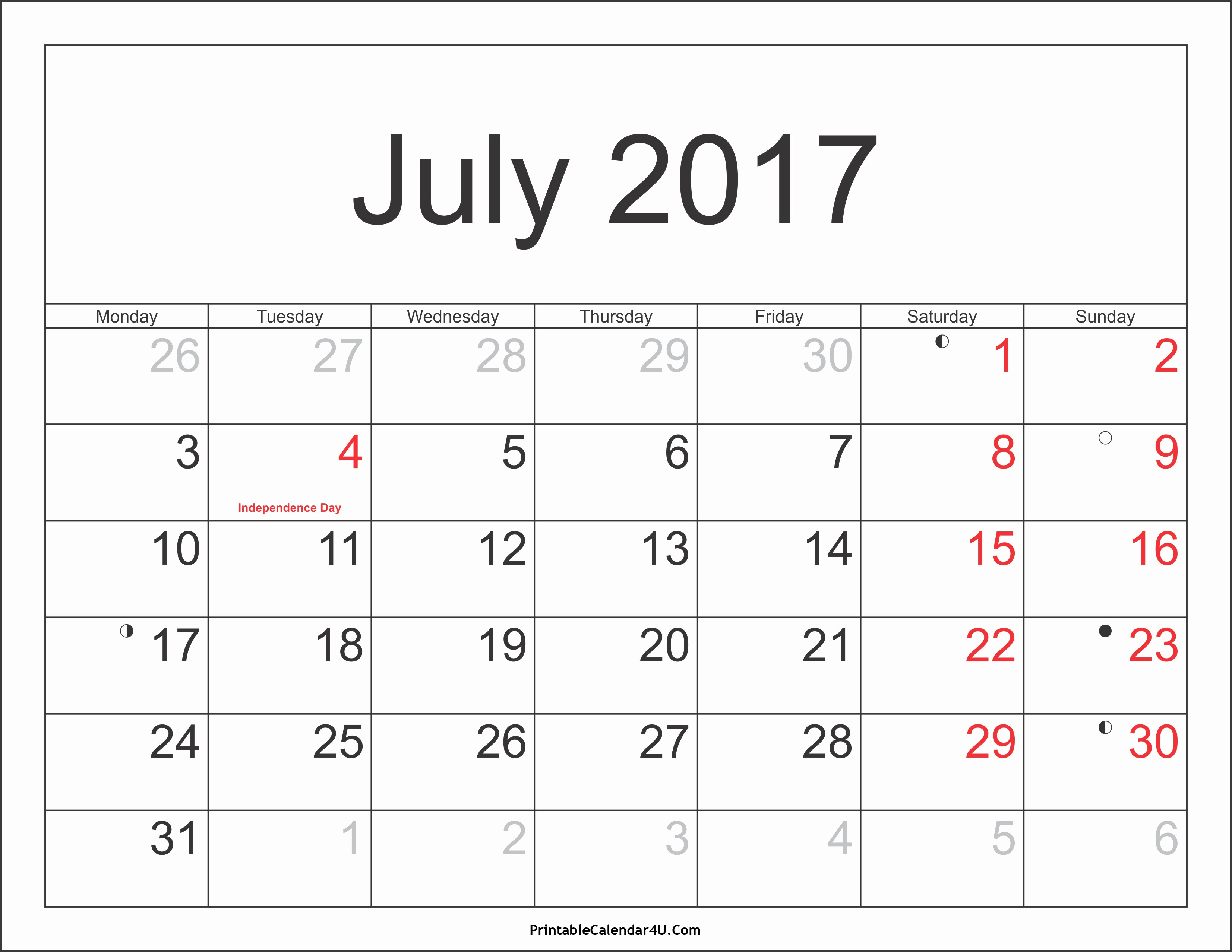 2017 Weekly Calendar with Holidays Luxury July 2017 Calendar Printable with Holidays