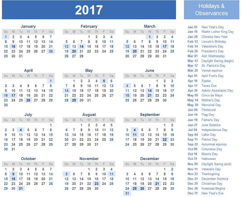 2017 Weekly Calendar with Holidays New 2017 Calendar with Holidays