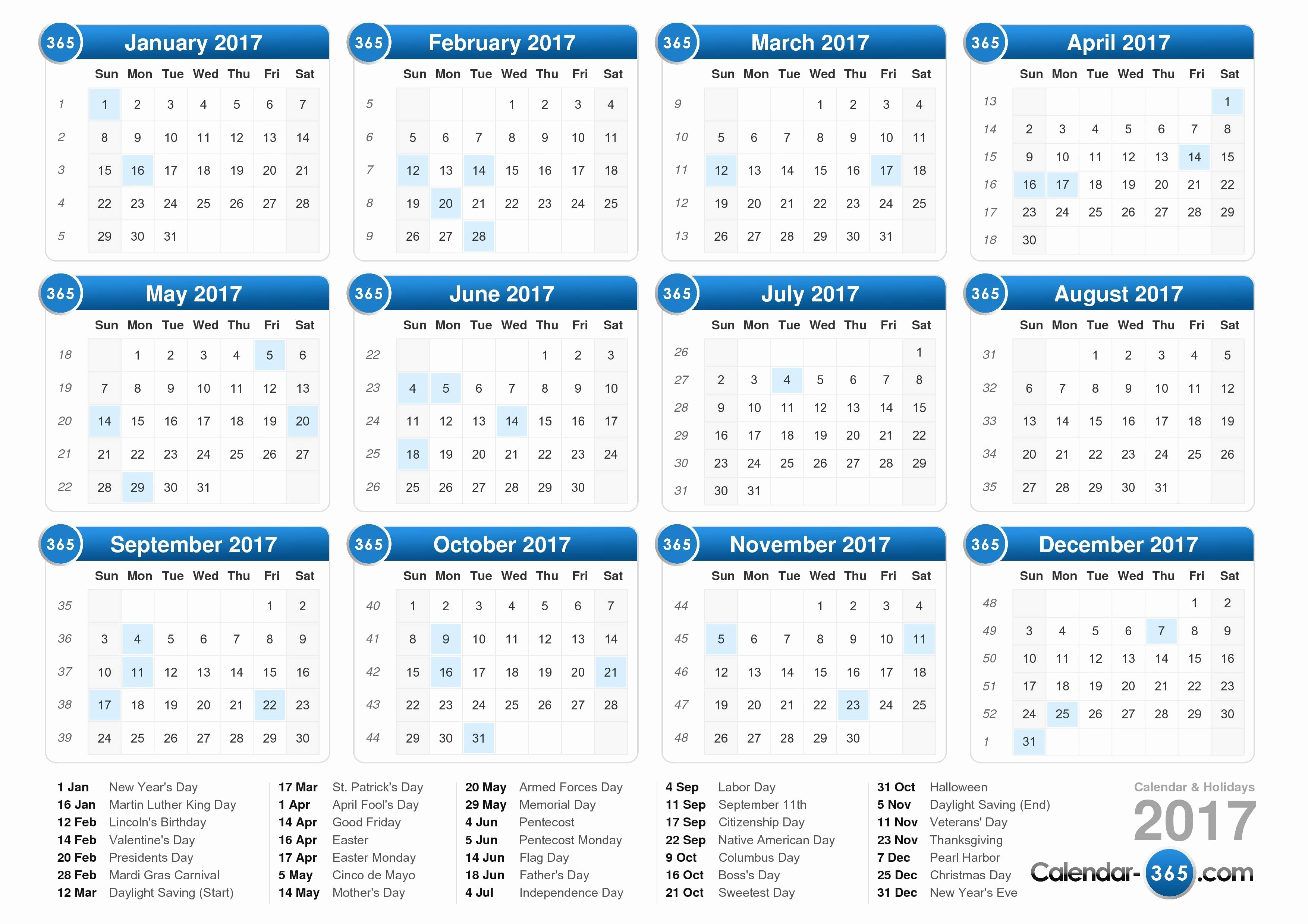 2017 Weekly Calendar with Holidays Unique 2017 Calendar