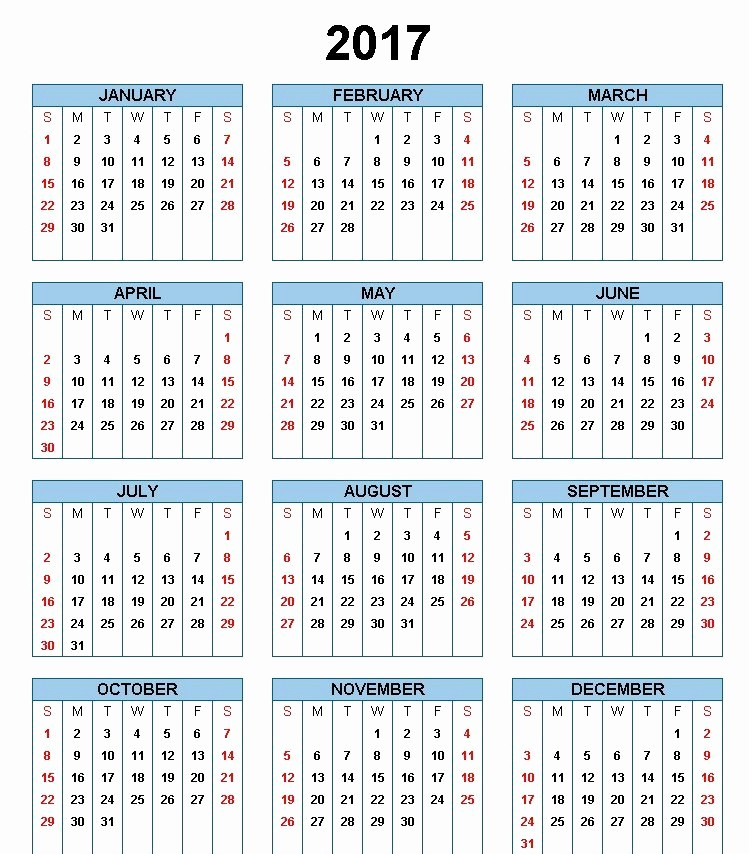 2017 Year Calendar Printable Free Awesome 2017 Printable Calendar Template Holidays Excel & Word