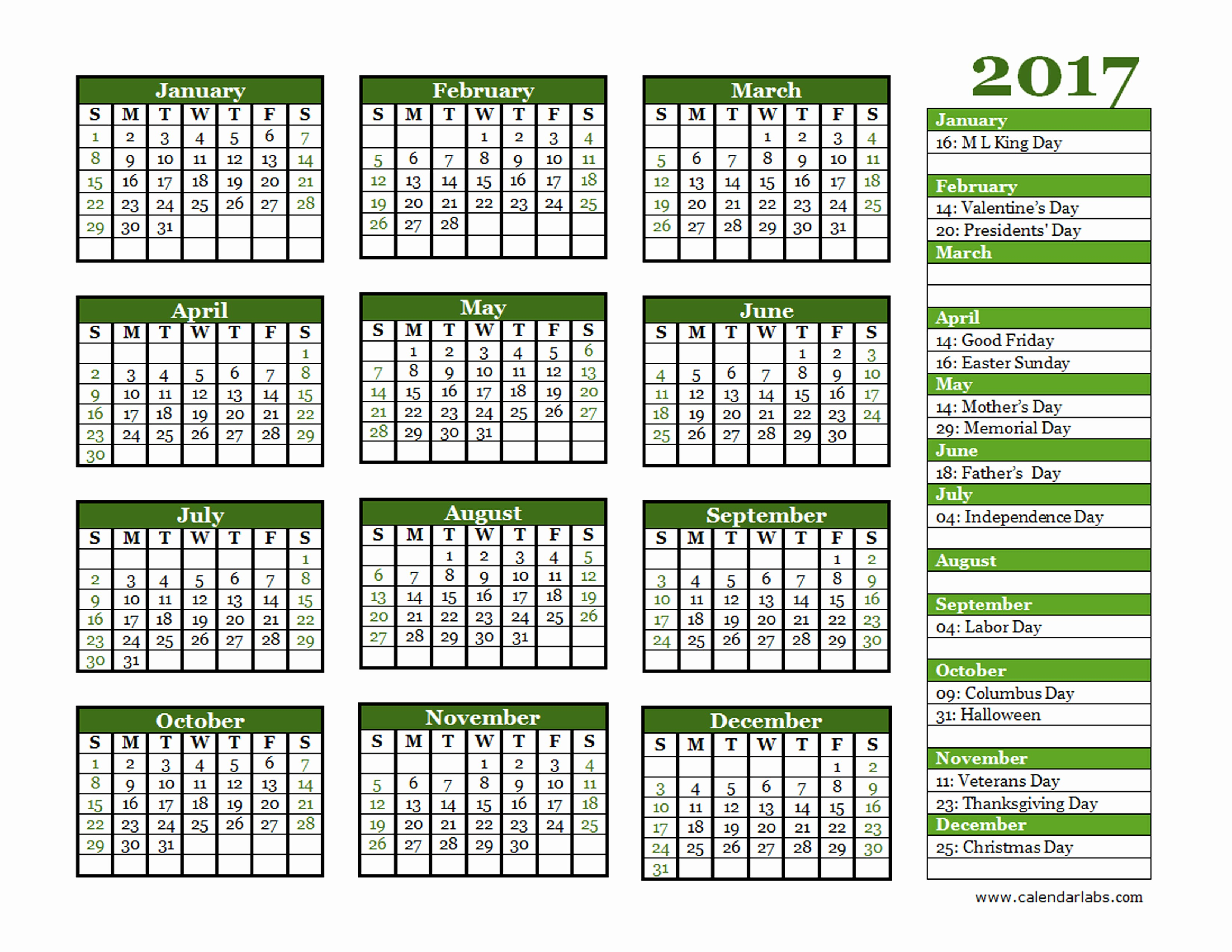 2017 Year Calendar Printable Free Awesome 2017 Yearly Calendar Landscape 06 Free Printable Templates