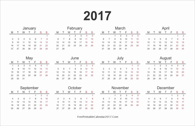 2017 Year Calendar Printable Free Beautiful Yearly Calendar 2017