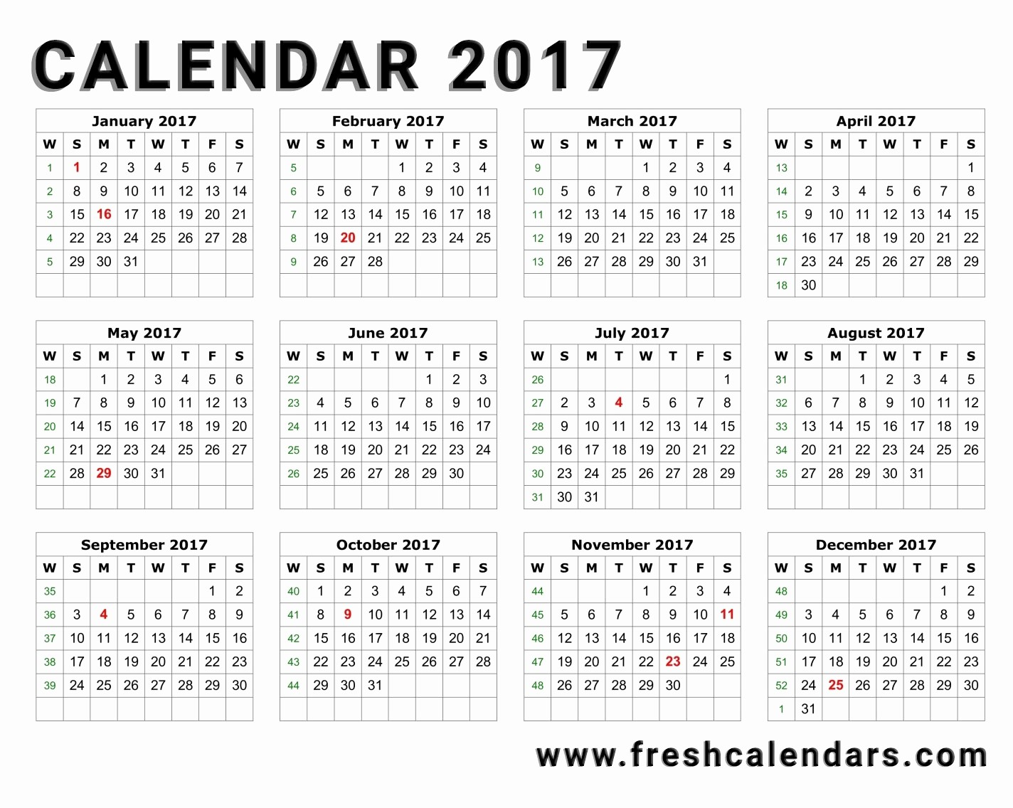 2017 Year Calendar Printable Free Best Of 20 Printable 2017 Calendar Templates