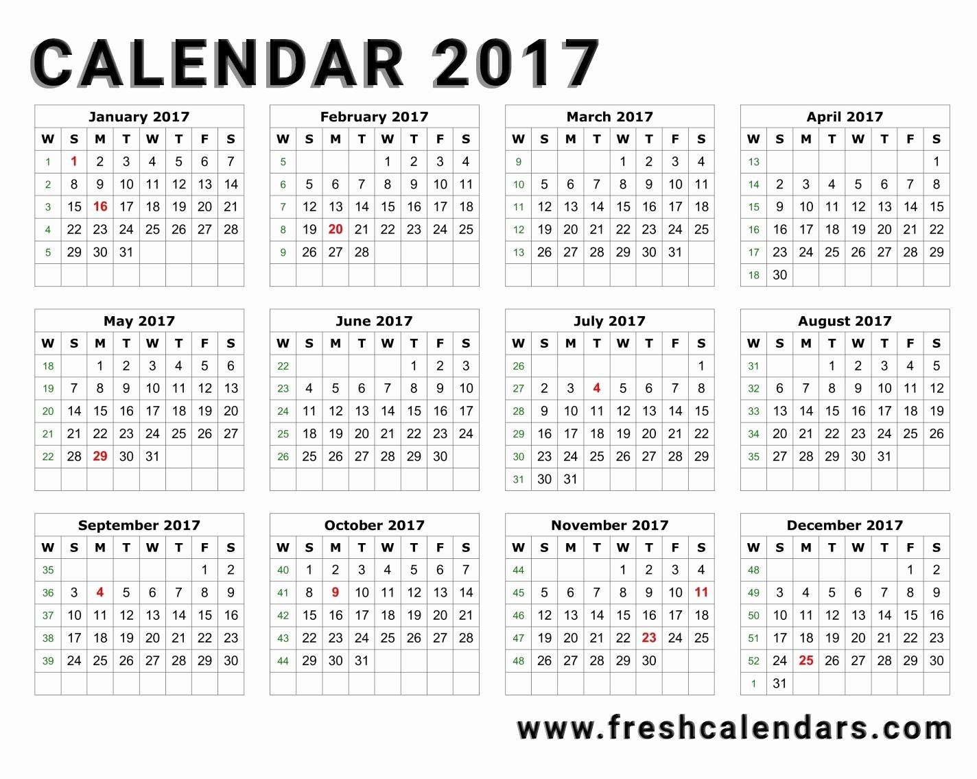 2017 Year Calendar Printable Free Best Of 20 Printable 2017 Calendar Templates