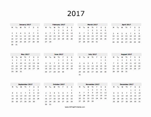 2017 Year Calendar Printable Free Best Of 2017 Calendar Free Printable Allfreeprintable
