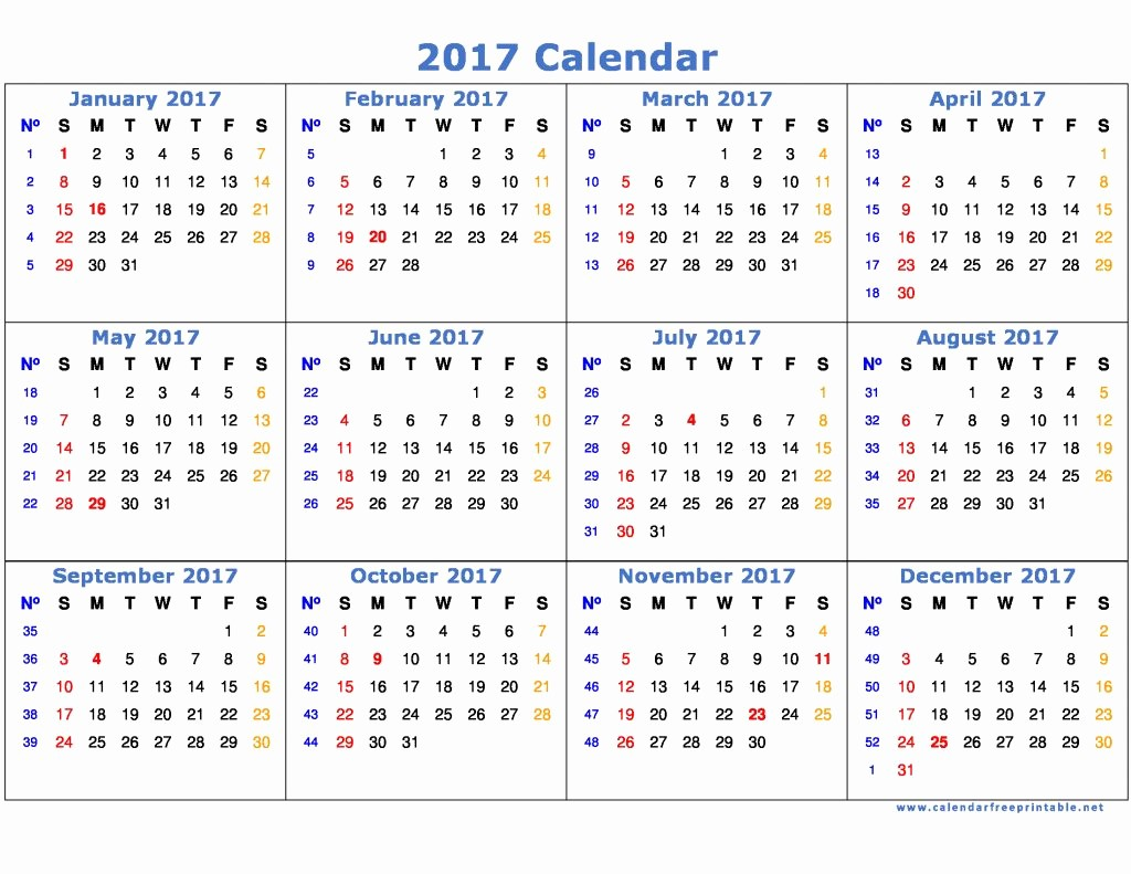2017 Year Calendar Printable Free Best Of 2017 Calendar Printable with Holidays