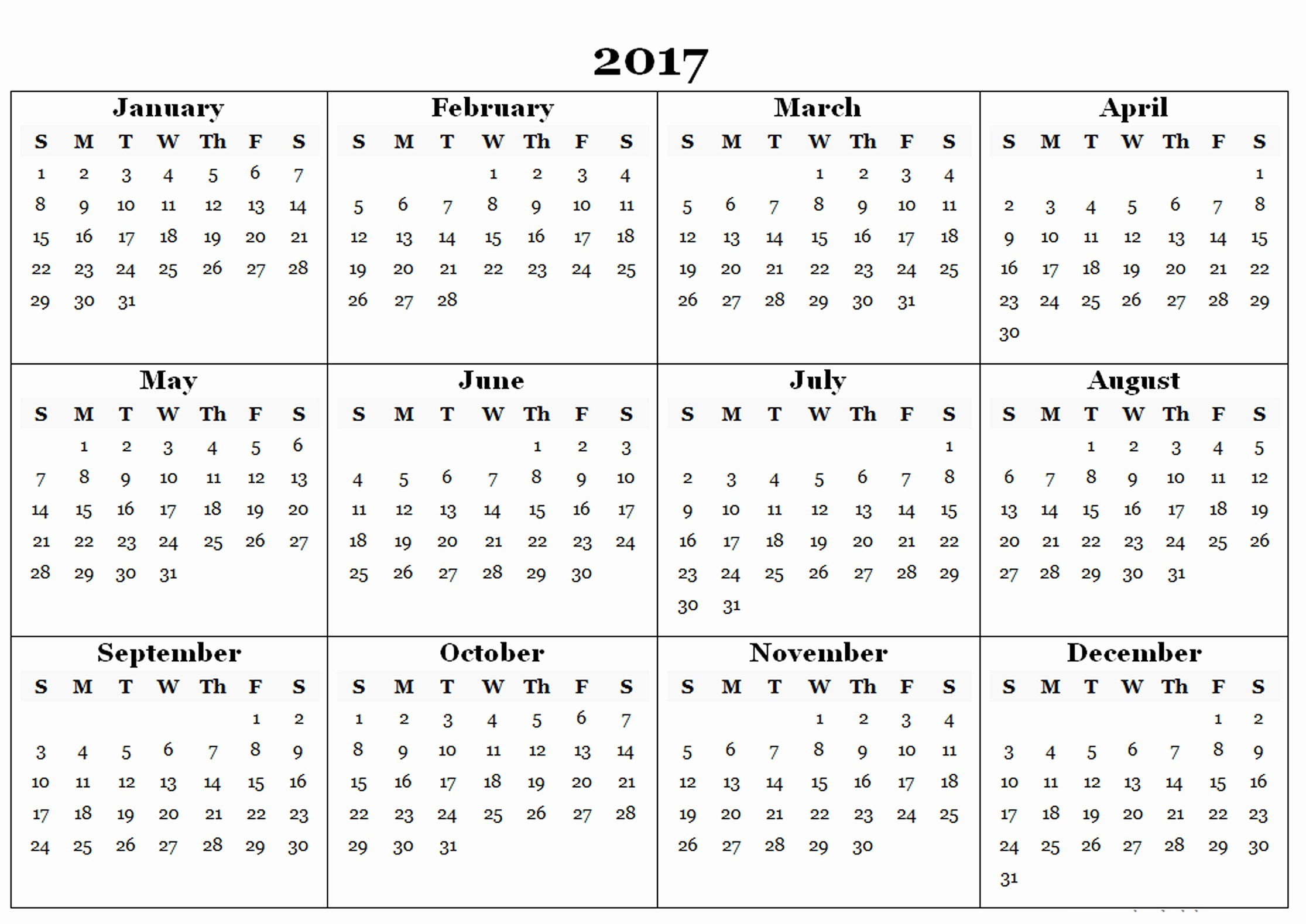 2017 Year Calendar Printable Free Elegant 2017 Calendar Templates and Printable 2017calendar