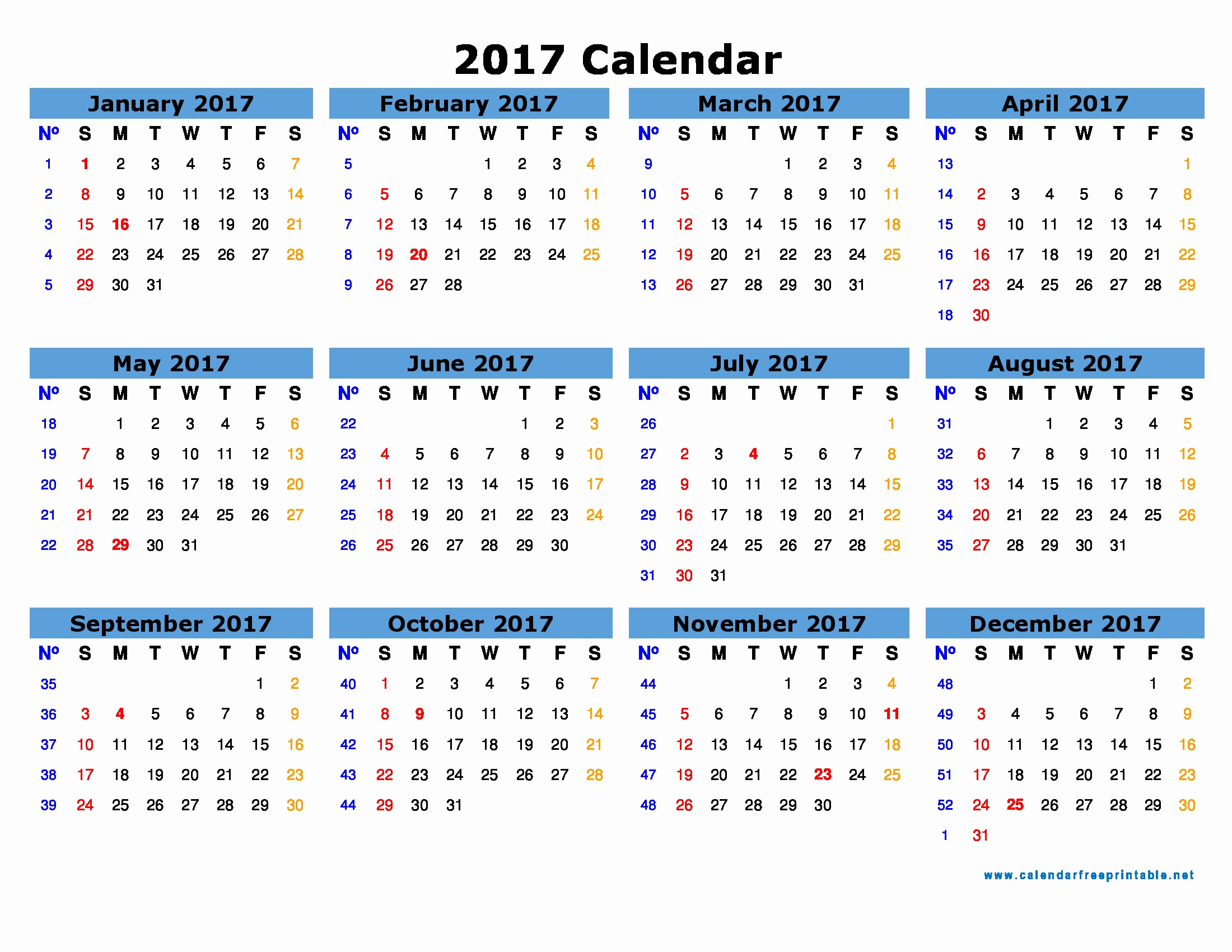2017 Year Calendar Printable Free Elegant Free 2017 Calendar with Holidays