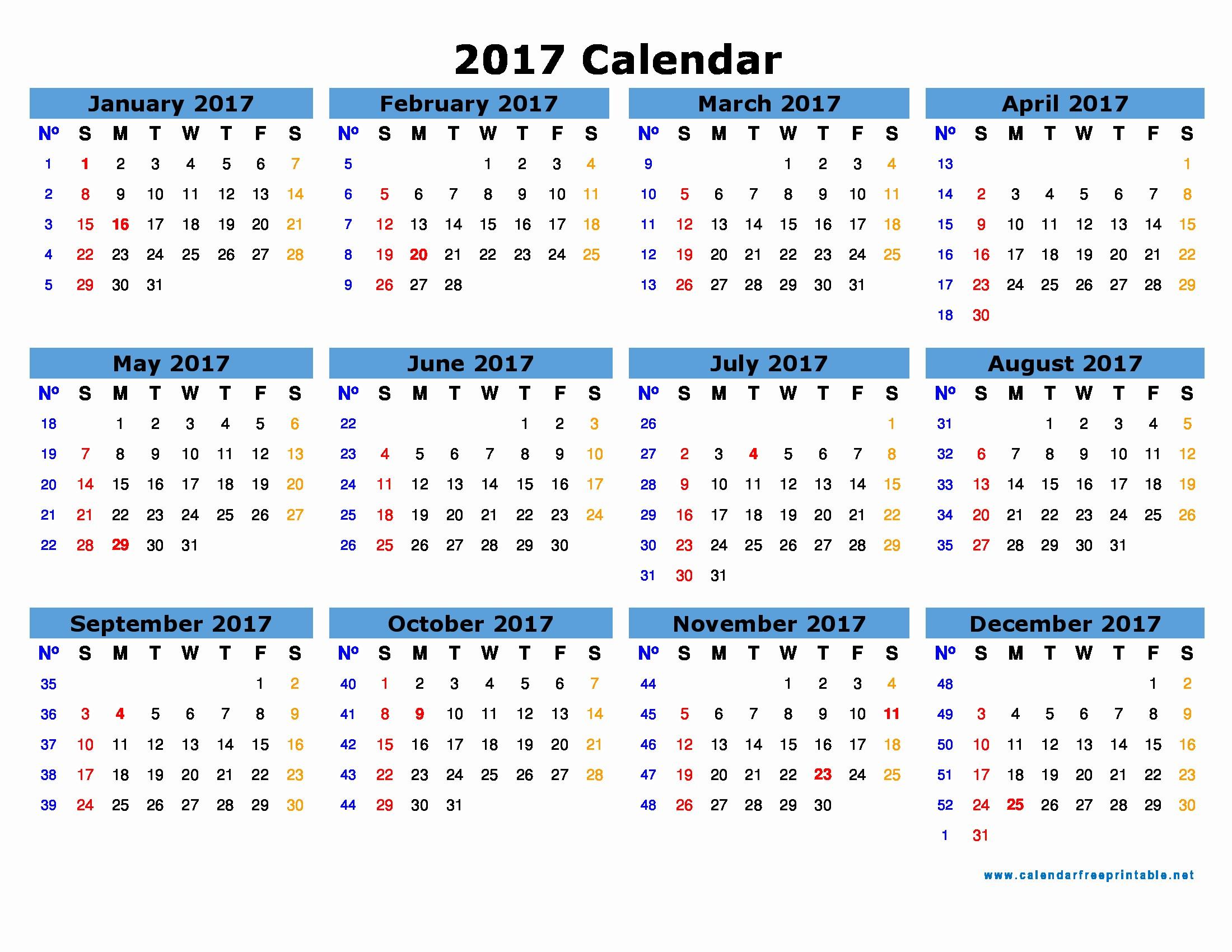 2017 Year Calendar Printable Free Elegant Free 2017 Calendar with Holidays