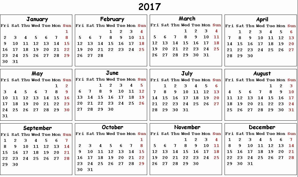 2017 Year Calendar Printable Free Inspirational 2017 Printable Calendar Pdf Calendar Template 2018