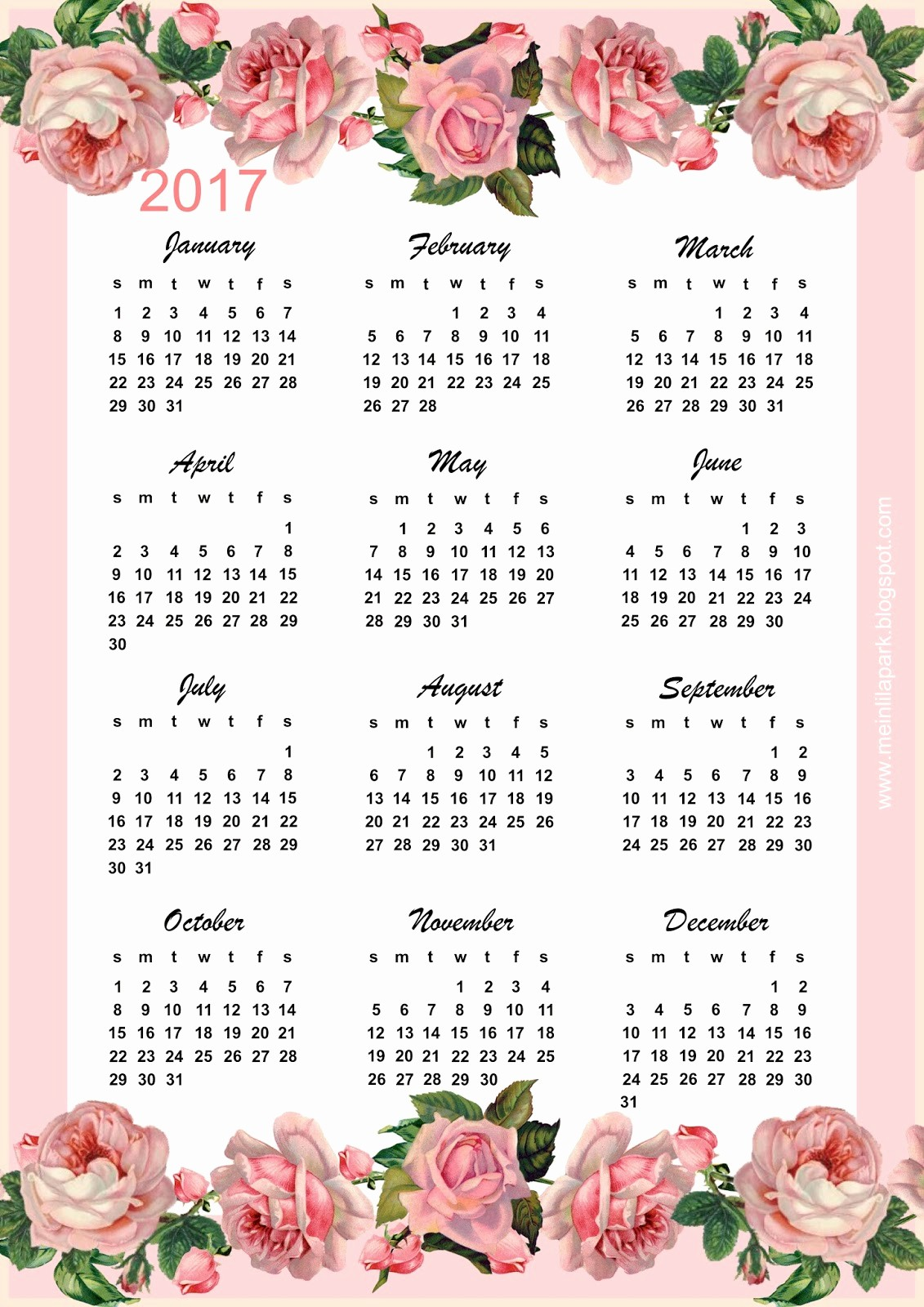 2017 Year Calendar Printable Free Luxury Free Printable 2017 Vintage Rose Calendar Year at A