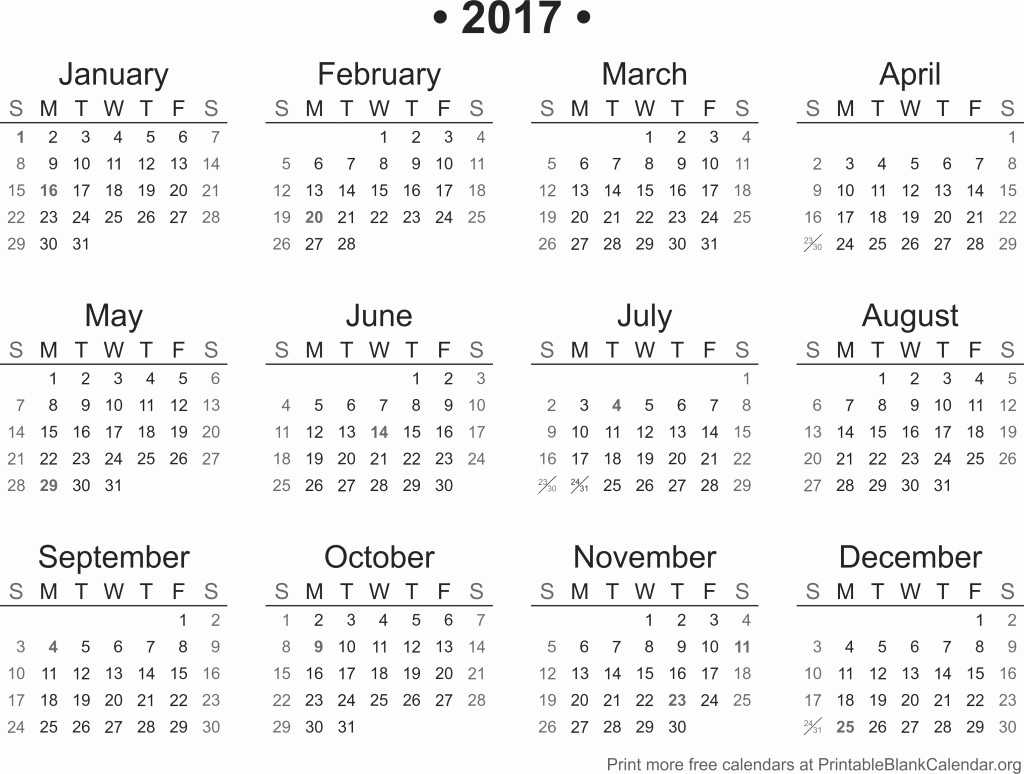 2017 Year Calendar Printable Free New 2017 Printable Calendar Printable Blank Calendar