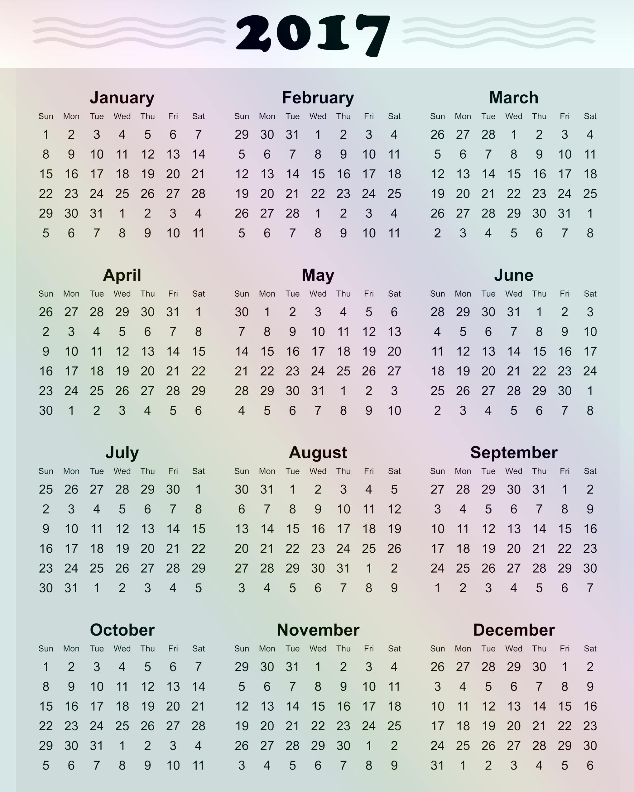 2017 Year Calendar Printable Free New 2017 Printable Calendar Template Holidays Excel & Word