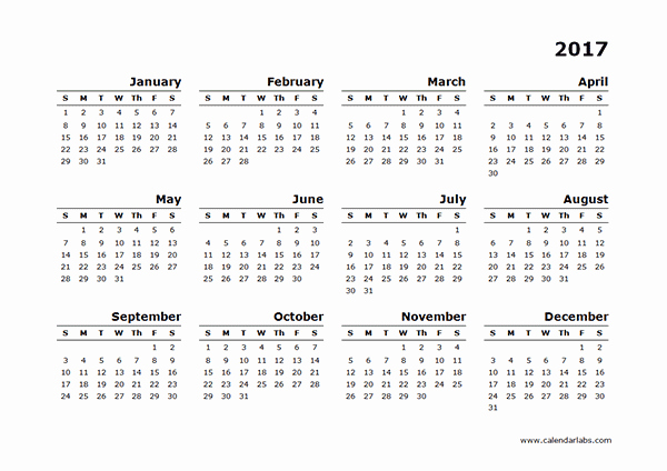 2017 Year Calendar Printable Free New 2017 Yearly Calendar Blank Minimal Design Free Printable
