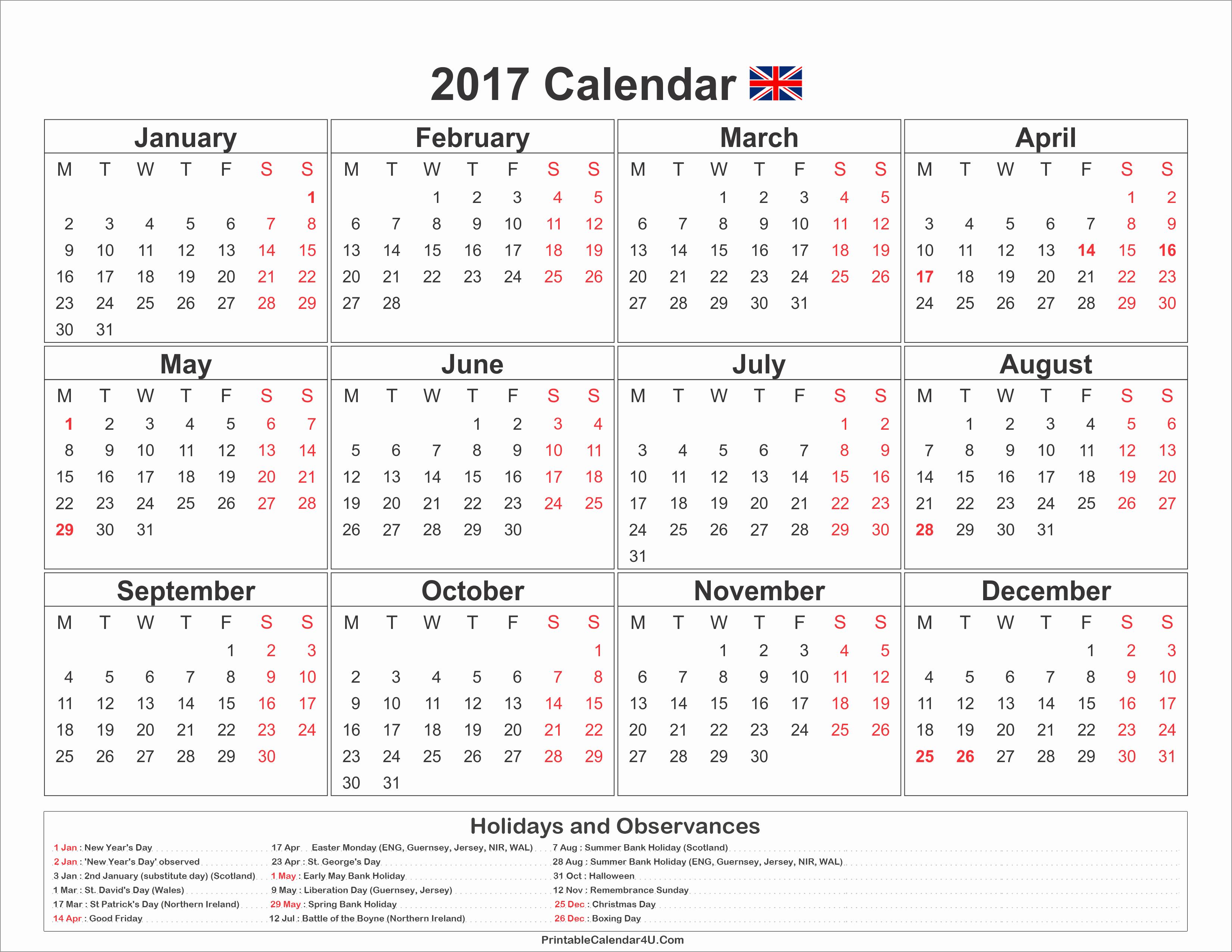 2017 Year Calendar Printable Free Unique 2017 Calendar Uk with Holidays Free Printable Calendar 2017