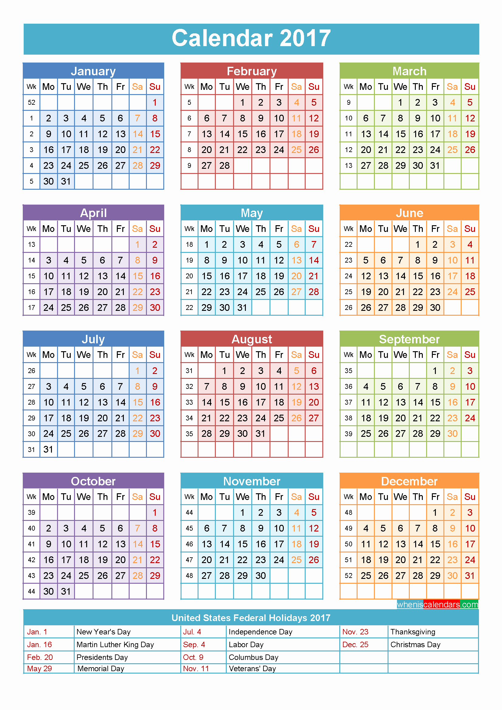 2017 Year Calendar Printable Free Unique Free Printable 2017 Yearly Calendar with Holidays