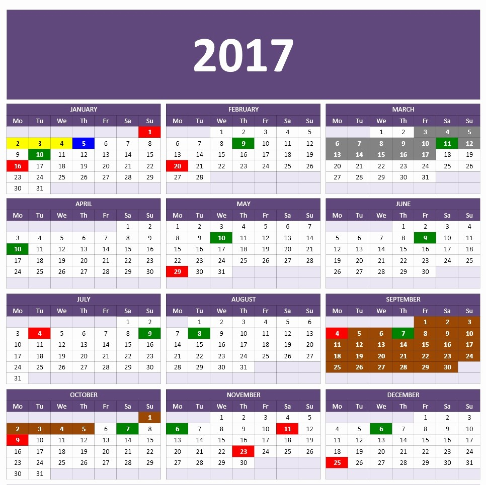 2017 year and monthly calendar