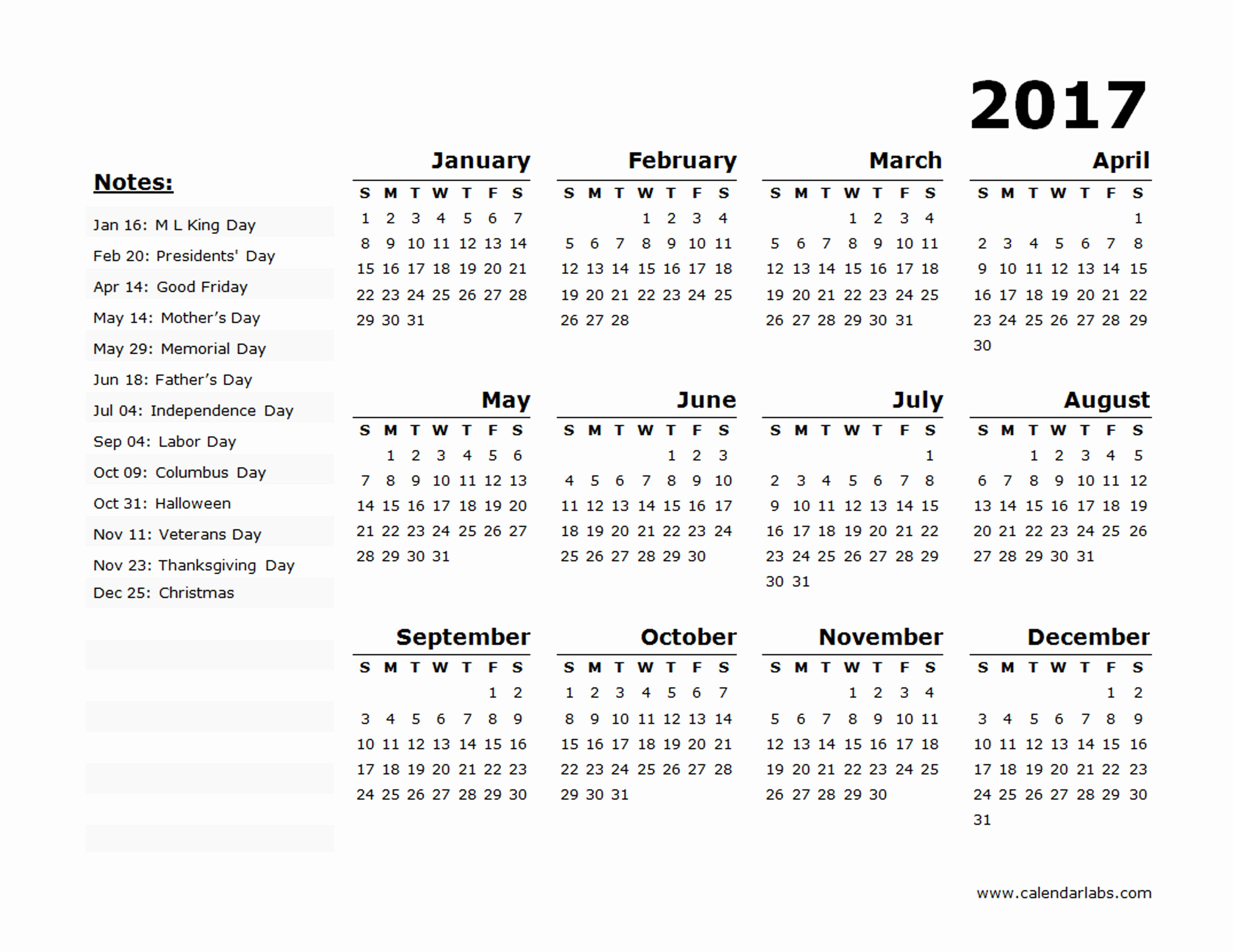 2017 Yearly Calendar Excel Template Beautiful 2017 Year Calendar Template Us Holidays 02 Free
