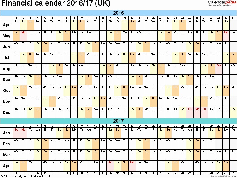 2017 Yearly Calendar Excel Template Beautiful Financial Calendars 2019 20 Uk In Microsoft Excel format