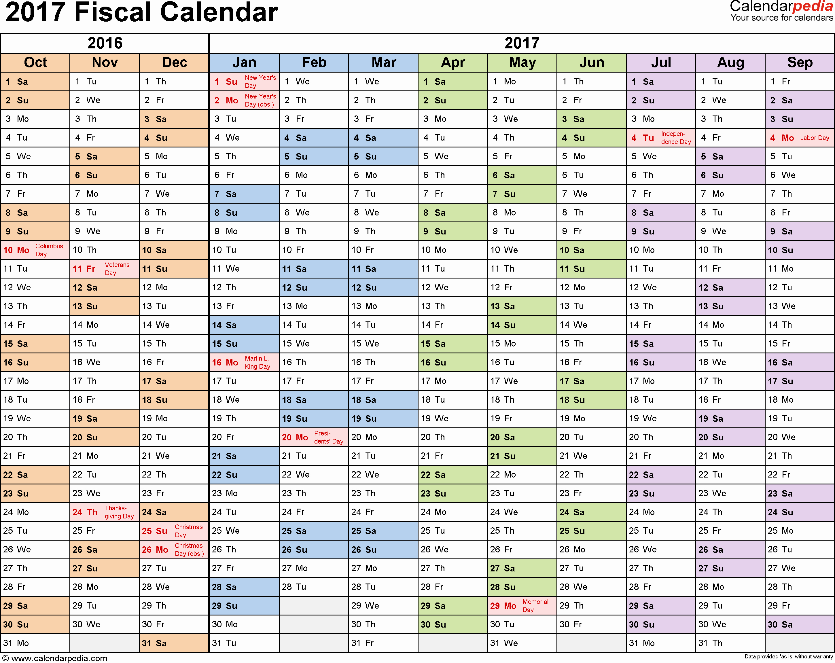 2017 Yearly Calendar Excel Template Beautiful Fiscal Calendars 2017 as Free Printable Excel Templates